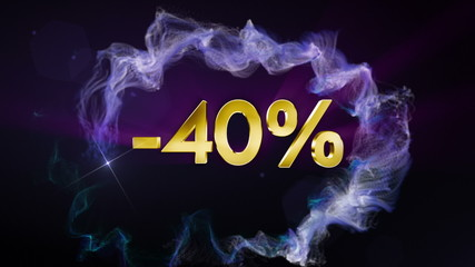 -40% Discount Concept, Gold Numbers in Particles