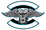 motorbike club badge with engine and wings