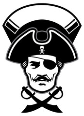 pirate captain head mascot