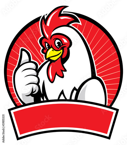 chicken mascot with thumb up