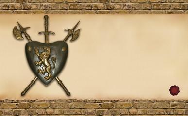 scudo con pergamena orizzontale