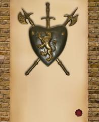 scudo con pergamena verticale