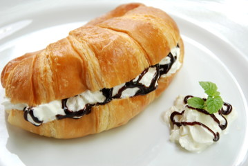 sweet fresh cream with croissant
