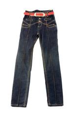 High waist blue jeans with red belt
