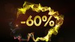 -60% Discount Concept, Gold Numbers in Particles