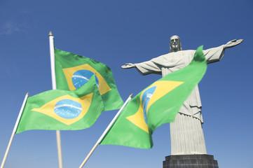 Brazilian Flags Waving at Corcovado Rio de Janeiro
