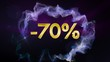 -70% Discount Concept, Gold Numbers in Particles
