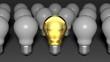 One golden light bulb among many white light bulbs