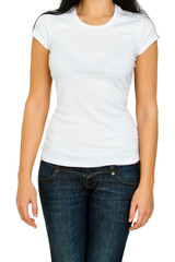 Young woman with a blank white t-shirt isolated on a white