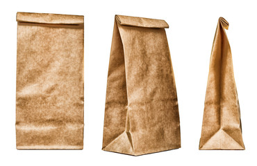 Brown textured paper bag set isolated on white background