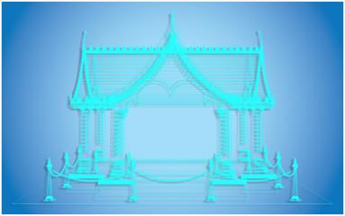 Wire frame Thai Pavilion,Bangkok