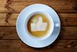 Leinwandbild Motiv Thumbs up sign in coffee