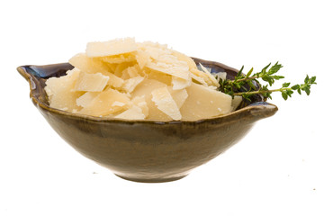 Parmesan cheese isolated white