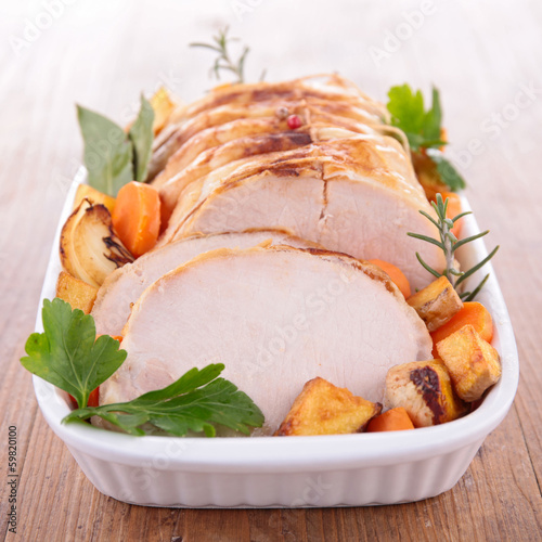 roast pork and vegetables