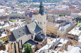 Bird-eye view of Lviv old town with Dominican cathedral in the c
