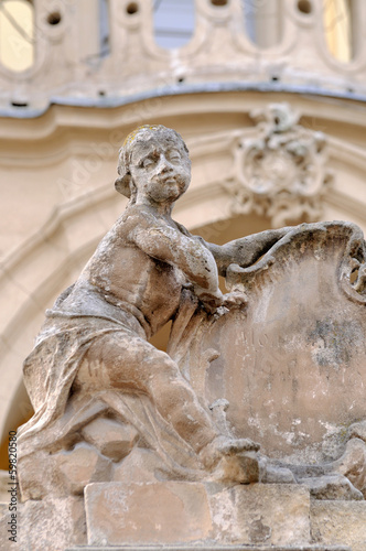 Sculpture on church wall St.George in Lviv