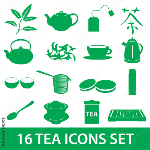 tea icons set eps10