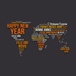 World map Happy New Year