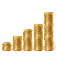 Raising stacks of golden coins