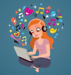 Headphones laptop girl