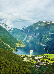 Cruise ship in Geiranger seaport, Norway
