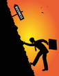 uomo d'affari compie una scalata verso il successo