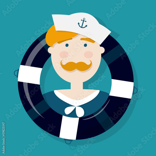 Cute ginger sailor cartoon character in a lifebuoy