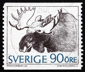 Postage stamp Sweden 1967 Moose, Alces Alces, Animal
