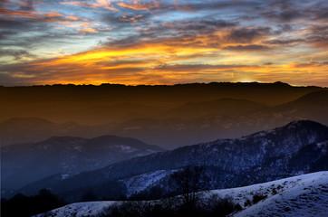 Sunset on the high altitude mountain. High altitude sunset