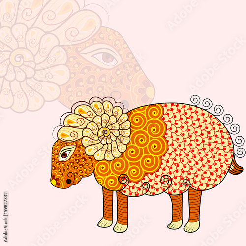 vector illustration of Aries Zodiac Sign