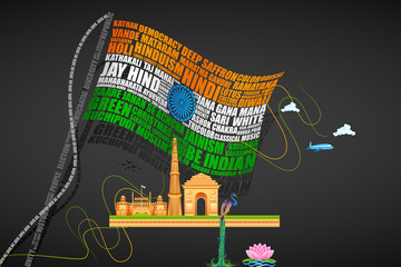 vector illustration of India Background with Monuments