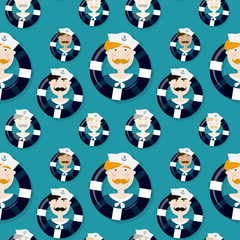 Different sailors seamless vector pattern in cartooning style