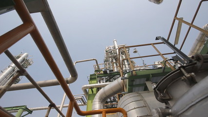 Industrial refinery plant - Camera panning