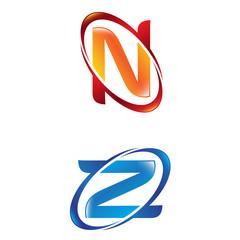 N Z Letter Logo Template