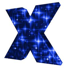 X symbol with night sky design