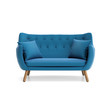Isolated contemporary blue buttoned sofa