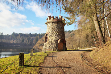 Beautiful tower near dam Les Kralovstvi in Bila Tremesta