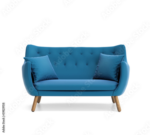 Leinwandbild Motiv Isolated contemporary blue buttoned sofa