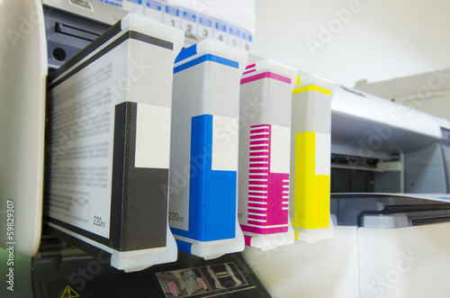 large format ink jet printer cartridge with paper roll