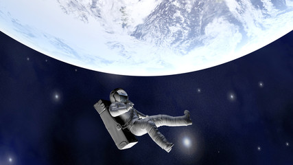 Astronaut floating far from Earth