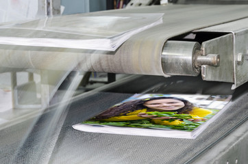 book, magazine production line into press plant