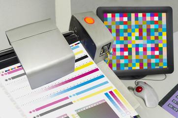 Pringing Press color management control. cmyk stripe