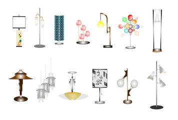 retro assorted household lamps set