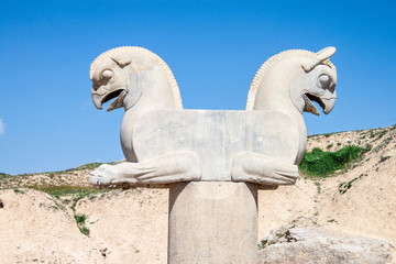 Ruins of ancient Persepolis, Iran. Two-headed Griffin.