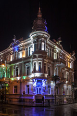 Night view of a house in Batumi, Georgia