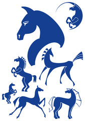 Collection of horse silhouettes.