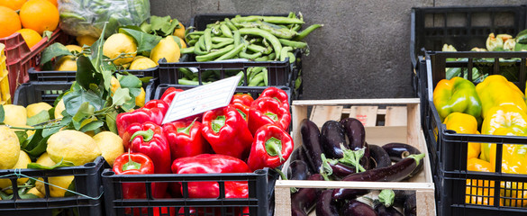 Vegetables in Crates at Market