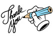 cartoon hand writing thank you