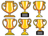 collection of trophy vector