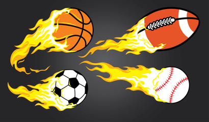 collection of burning sports ball